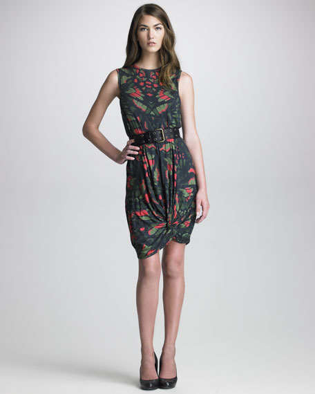 Printed Knot-Hem Dress