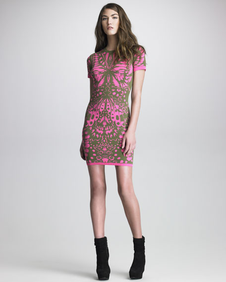 Printed Knit Short-Sleeve Sheath Dress