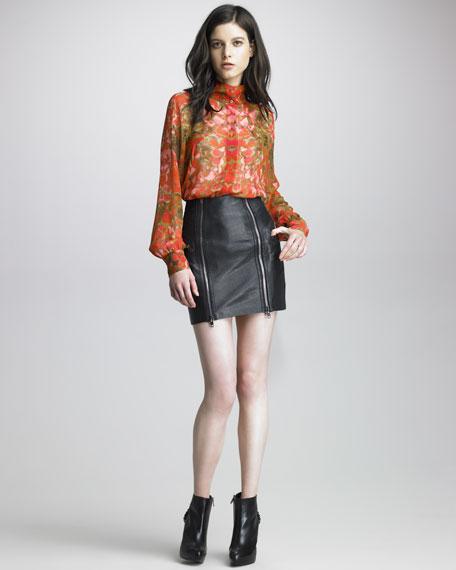 Zipped Leather Miniskirt