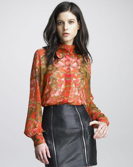 Petal-Print Silk Blouse