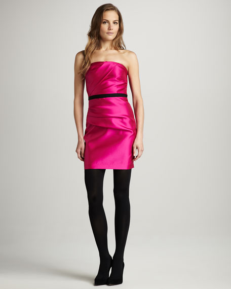 Gathered Strapless Satin Dress