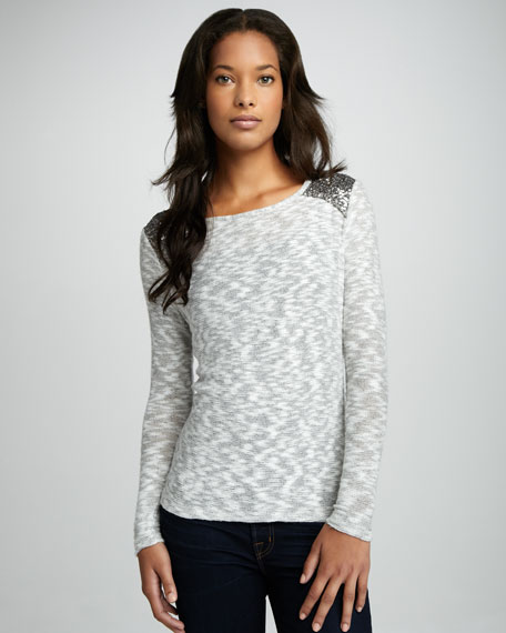 Sadie Sequin-Shoulder Sweater
