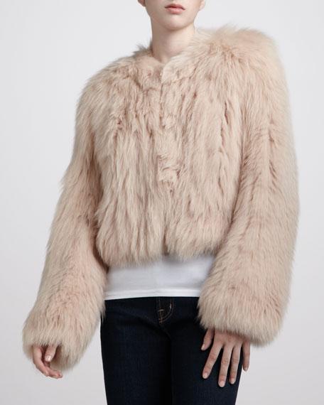 Cropped Fox-Fur Jacket, Nude