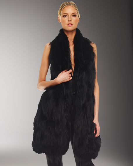Long Knit Fur Vest