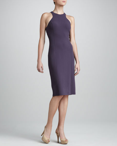 Fitted Crepe Dress, Plum