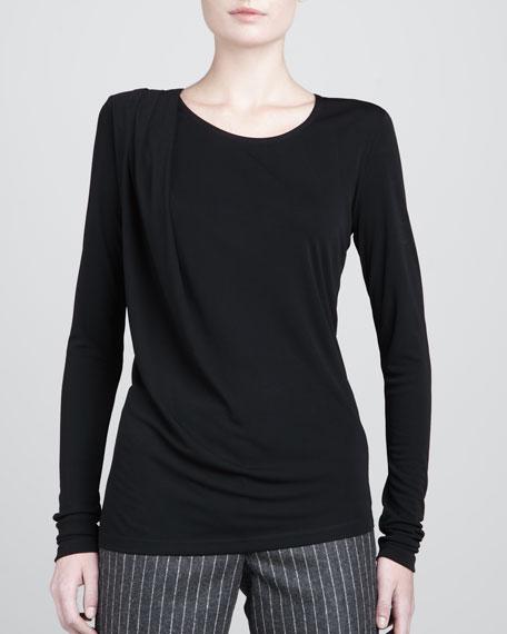 Jersey Draped Long-Sleeve Top