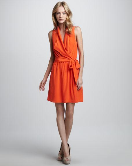 Sleeveless Faux-Wrap Tie Dress