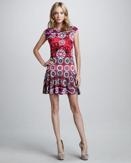 Floral-Print Cap-Sleeve Jersey Dress