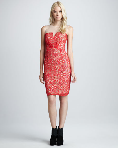 Alberto Crochet-Overlay Dress