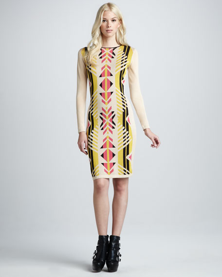Santos Tribal-Print Long-Sleeve Dress