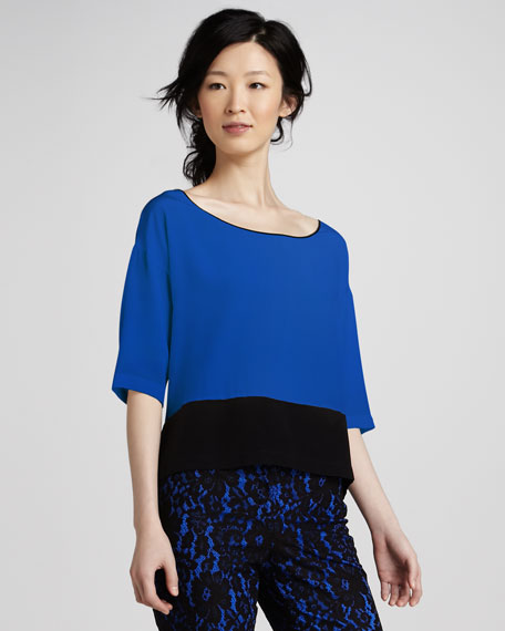 Colorblock Silk Top