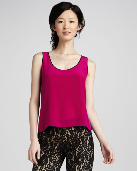 Contrast-Back Silk Tank