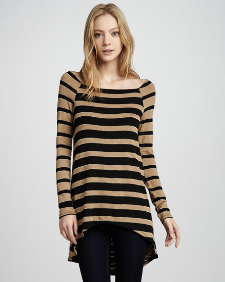 Astoria Shimmery Striped High-Low Top