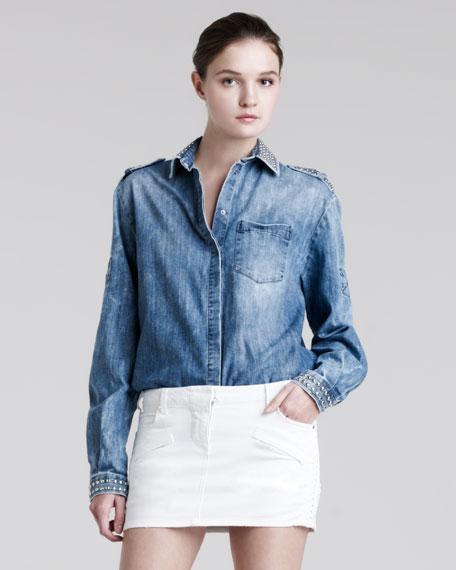 Leather-Trim Denim Miniskirt
