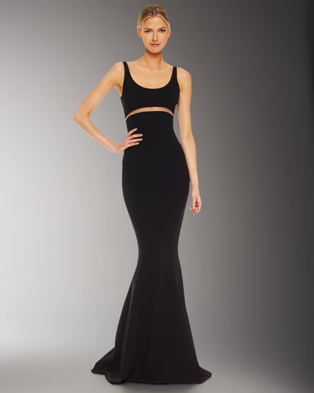 Illusion Cutout-Waist Gown