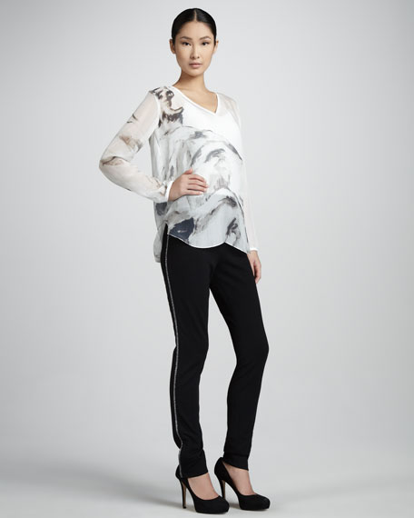Contrast-Piped Pants