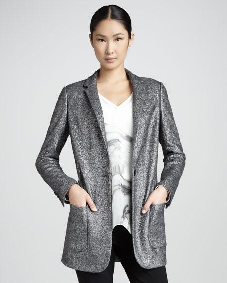 Long Shimmer Jacquard Blazer