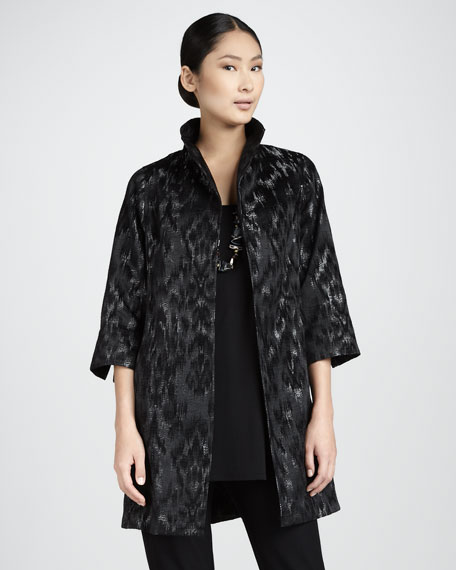 Blurred Ikat Coat