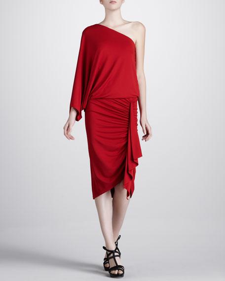 Ruch-Skirt One-Shoulder Jersey Dress