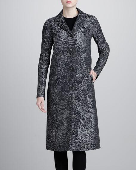 Astrakhan Brocade Balmacaan Coat