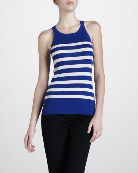 Ribbed Striped Cashmere Tank