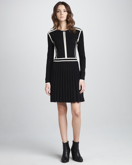 Slalom Pleated-Skirt Dress
