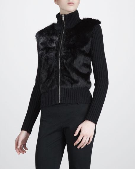Fur-Front Cardigan