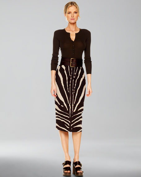 Zebra-Print Pencil Skirt