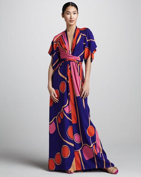 Deep-V Silk Kimono Maxi Dress