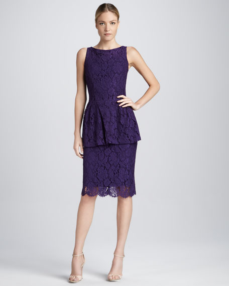 Lace Peplum Cocktail Dress