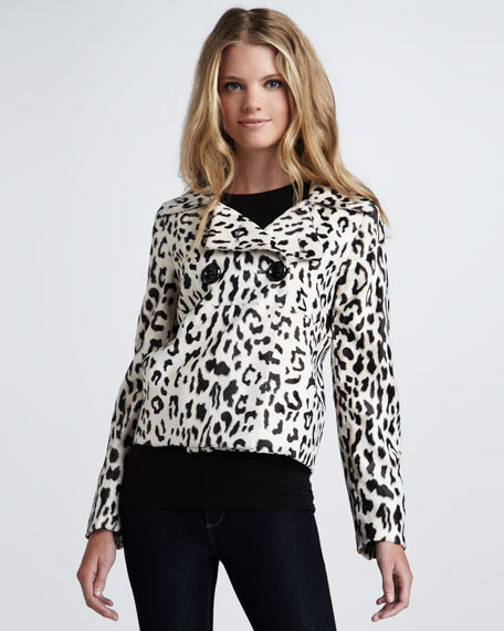 Double-Breasted Leopard-Print Jacket