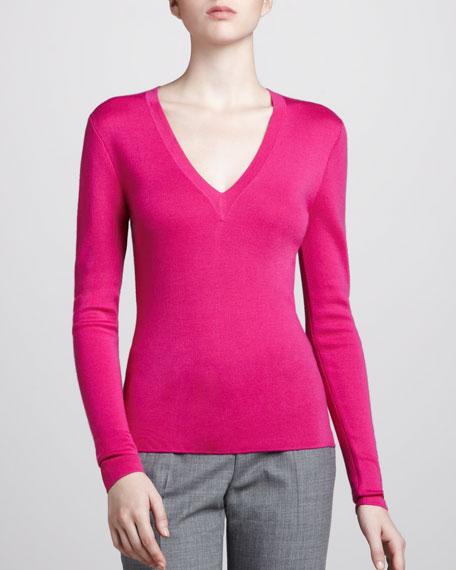 V-Neck Cashmere Sweater, Fuchsia