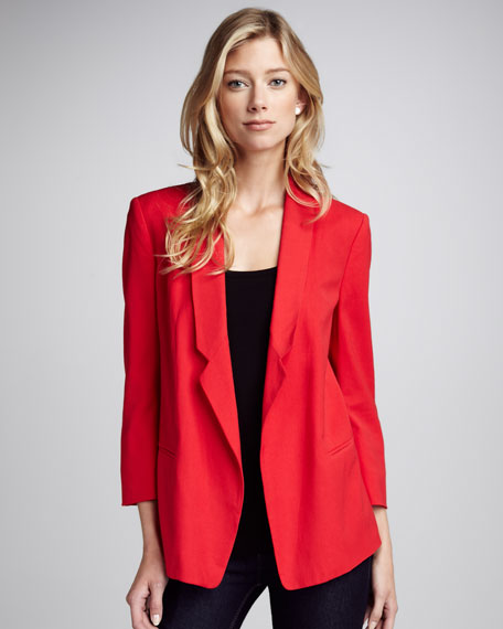 Connie Loose Crepe Blazer, Red