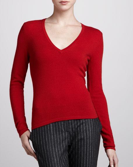 V-Neck Cashmere Sweater, Crimson