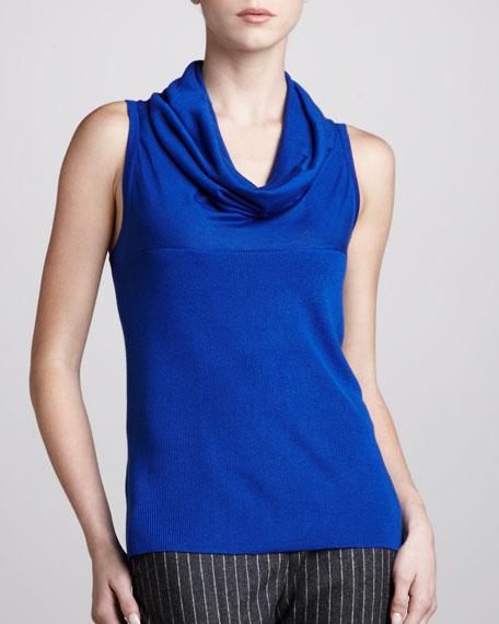Sleeveless Cowl-Neck Sweater, Cobalt