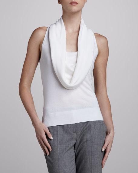 Sleeveless Cowl-Neck Sweater, White