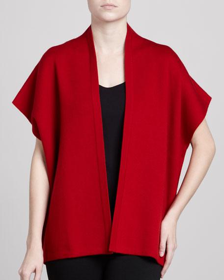 Short-Sleeve Open Cardigan
