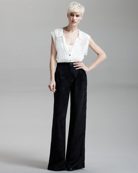 Satin Wide-Leg Pants