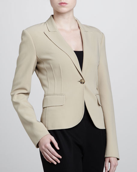 Crepe One-Button Jacket, Khaki
