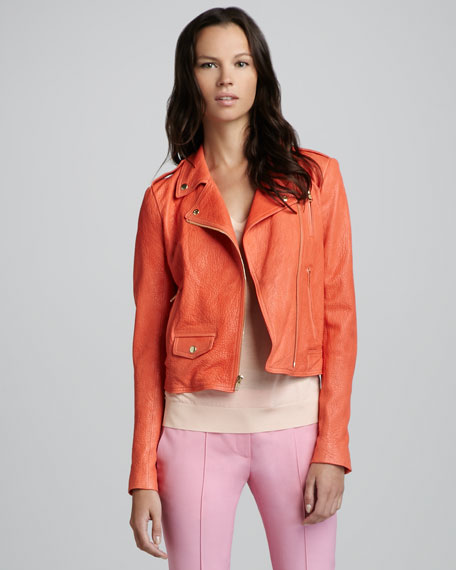 Elenian Fabric Moto Leather Jacket