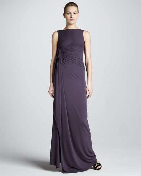 Gathered Boat-Neck Gown