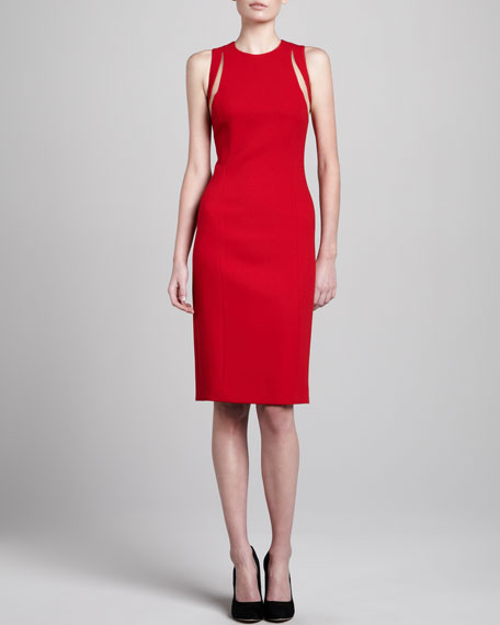 Cutout Fitted Dress, Crimson
