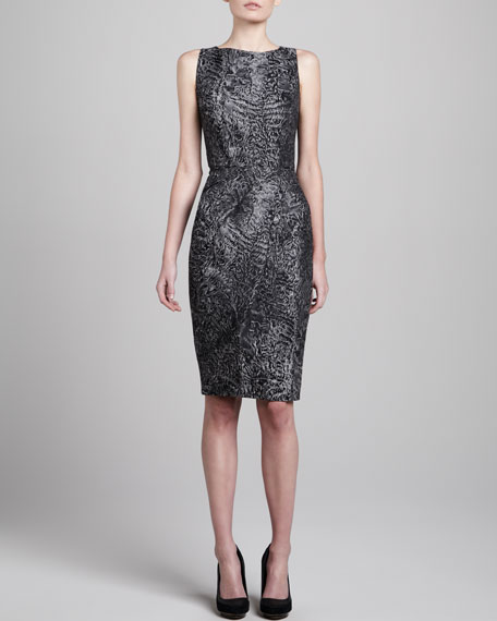 Jacquard Sleeveless Fitted Dress
