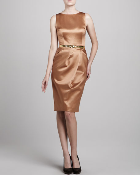Boat-Neck Sateen Dress, Suntan