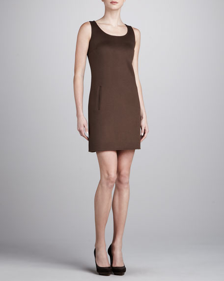 Sleeveless Wool-Crepe Dress, Cocoa