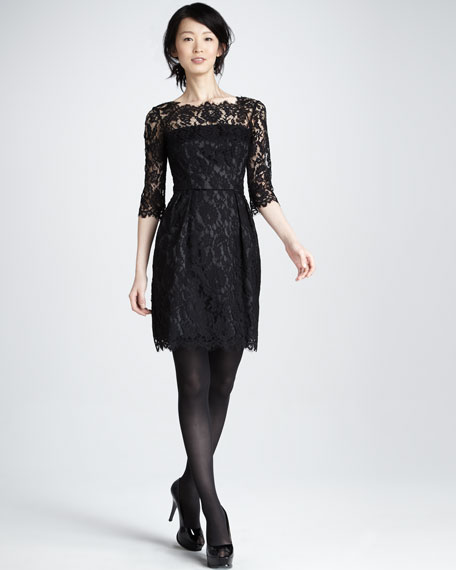 Stella Lace Dress, Black