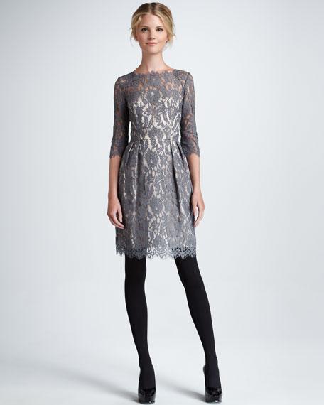 Stella Lace Dress, Gray