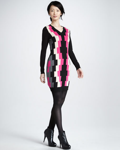 Prism Intarsia Long-Sleeve Dress