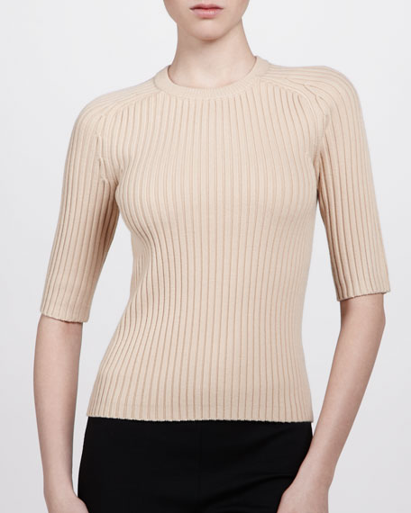 Half-Sleeve Crewneck Top, Nude