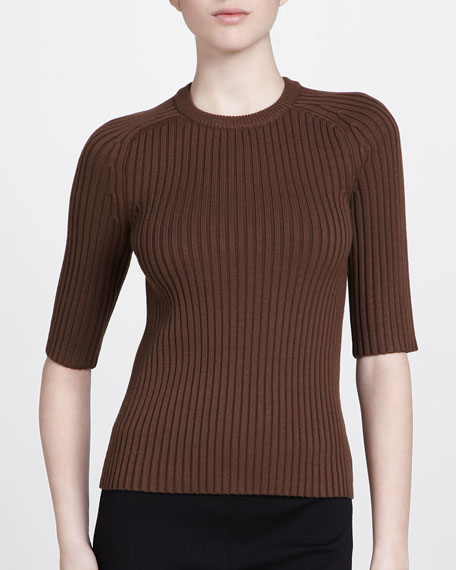Half-Sleeve Crewneck Top, Cocoa